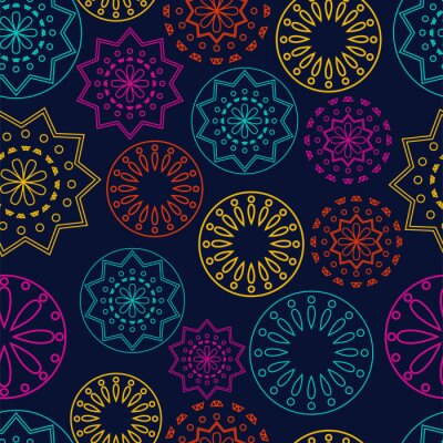 Sticker Vector. Perforated bright patterns Papel Picado pattern on a colored background. Hispanic Heritage Month. Polygonal seamless pattern for web banner, poster, cover, splash, social network.
