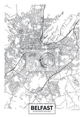 Vector poster detailed city map Belfast