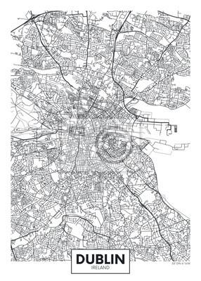 Vector poster detailed city map Dublin