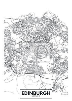 Vector poster detailed city map Edinburgh