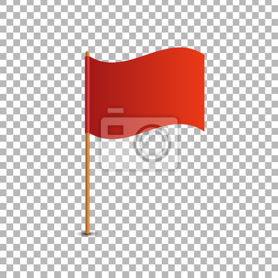 Sticker Vector realistic isolated red flag for decoration and covering on the transparent background. Concept of pointer, tag and important sign.