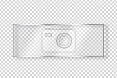 Sticker Vector realistische lokalisierte Glasrechteckanschlagtafel für Dekoration und die Abdeckung auf dem transparenten Hintergrund.