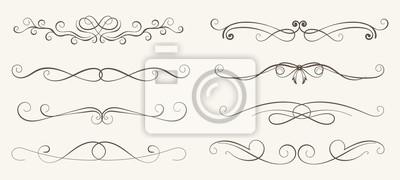 Sticker Vector Reihe von dekorativen Elementen, Rahmen und Linie Vintage-Stil