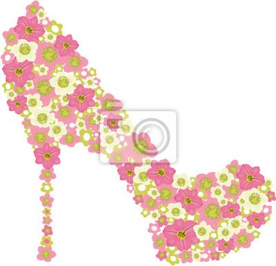 Vector Schuh mit rosa Blumen geschmückt.