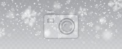 Sticker Vector schwere Schneefälle, Schneeflocken in den verschiedenen Formen und in den Formen. Viele weißen kalten Flockenelemente auf transparentem Hintergrund. Weiße Schneeflocken, die in die Luft fliegen