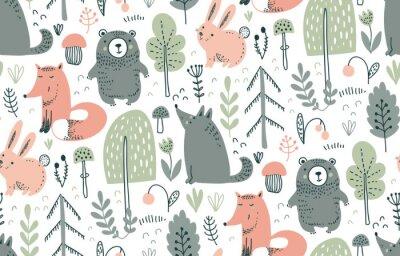 Sticker Vector seamless pattern with hand drawn wild forest animals,