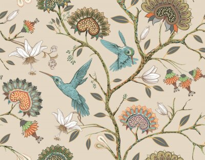 Sticker Vector seamless pattern with stylized flowers and birds. Blossom garden with hummingbirds and plants. Light floral wallpaper. Design for fabric, textile, wallpaper, cover, wrapping paper.