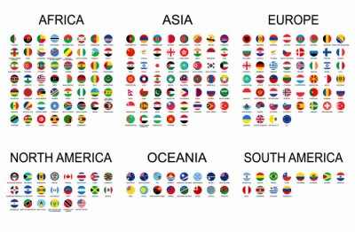 Sticker Vector set official national flags of the world. Country round shape flags collection with detailed emblems.
