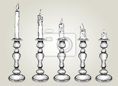 Vector Set von Sketch Kerzen in Leuchter. Hand gezeichnet Schwarz-Weiß-Abbildung, Prozess der Kerze Burning.isolated