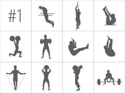 Sticker Vector Silhouetten von Menschen, die Fitness und Crossfit Workouts