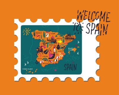 Vector stamp with themap of Spain and writing Welcome to Spain hand-drawn on a yellow background on posters or travel guides. Vector illustration