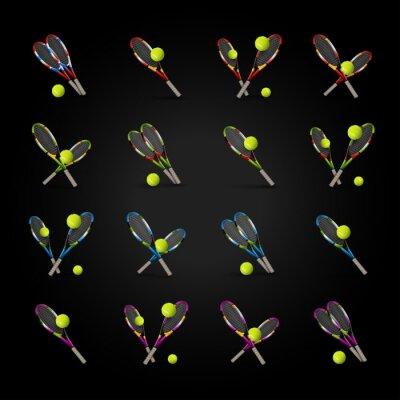 Sticker Vector Tennis-Symbole als Designelemente, Tennisbälle, Tennis r