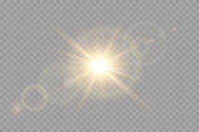 Sticker Vector transparent sunlight special lens flare light effect.