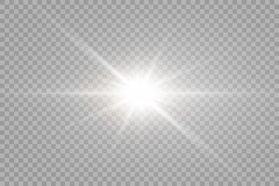 Sticker Vector transparent sunlight special lens flare light effect. PNG. Vector illustration