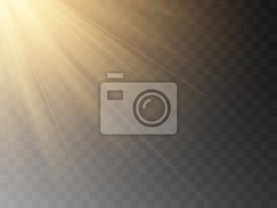 Sticker Vector transparent sunlight special lens flash light effect.front sun lens flash. Vector blur in the light of radiance.