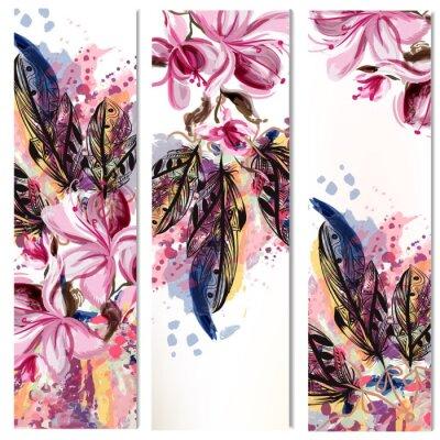 Sticker Vector vertikale Broschüren mit Magnolienblüten und Federn gesetzt