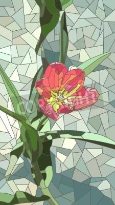 Sticker Vector vertikale Mosaik mit großen Zellen der roten Tulip Blumen auf grün.