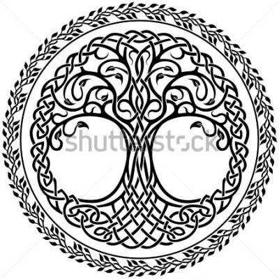 Sticker Vector Verzierung, dekorativen keltischen Baum des Lebens mit runder mit Blumengrenze