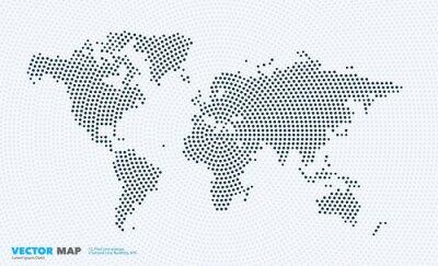 Sticker Vector Weltkarte mit Runden, Spots, Punkte für Business Templates