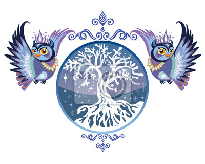 Vector_winter_owls_with_tree