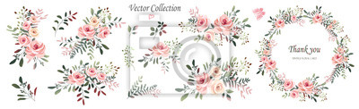 Sticker Vector. Wreaths.  Botanical collection of wild and garden plants. Set: leaves, flowers, branches, pink roses,floral arrangements, natural elements.