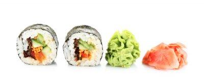 Sticker Vegetarische Sushi-Rollen auf weißem