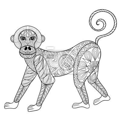 Vektor Affe Zentangle Monkey Illustration Marmoset Für Notebook