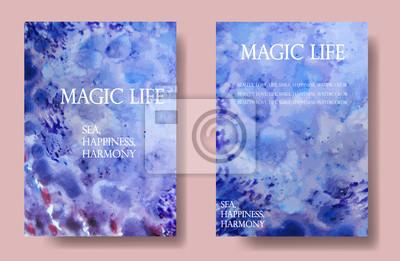 Vektor, Aquarell künstlerische universelle Karte. Hand gezeichneten Texturen. Entwurf für Plakat, Einladung, Schild, Broschüre, Flieger. Welle und Meer