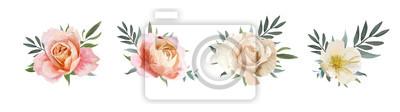 Sticker Vektor Blumenstrauß Design: Garten rosa Pfirsich, cremige, hellorange Rose, gelb weiße Magnolienblüte, Eukalyptus, Olivenzweig Grün, grüne Blätter.  Hochzeit, Einladung Karte Aquarell Elemente Set