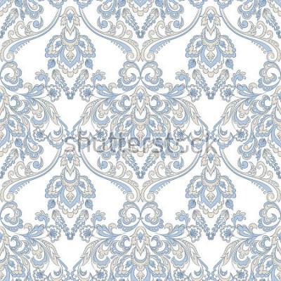 Sticker Vektor Blumentapete. Klassische barocke Blumenverzierung. Nahtloses Weinlesemuster