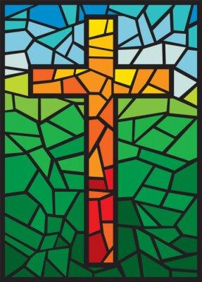 Sticker Vektor-Buntglas-Kreuz