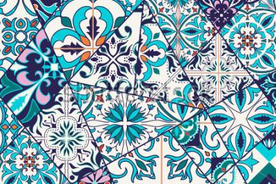 Sticker Vektor dekorativer Hintergrund. Mosaik-Patchworkmuster für Design und Mode. Portugiesische Fliesen, Azulejo, marokkanische Ornamente