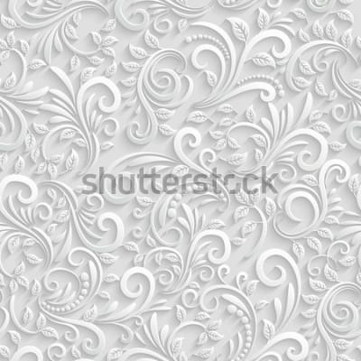 Sticker Vektor Floral 3d Seamless Pattern Hintergrund. Für Weihnachts- und Einladungskarten Dekoration