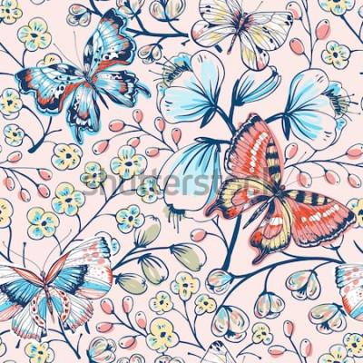 Sticker Vektor floral nahtlose Muster mit Vintage Schmetterlingen und Blumen
