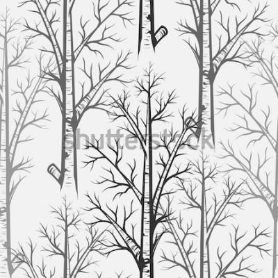 Sticker Vektor Grey Birch Tree Seamless Pattern