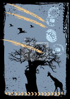 Vektor-Grunge-Hintergrund mit Baum und Giraffe