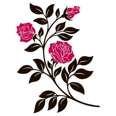 Sticker Vektor-Illustration, Dekoration Element, schwarz und weiß Rose Zweig mit roten Blüten