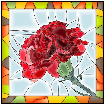 Sticker Vektor-Illustration der Blume rote Nelke Buntglasfenster mit Rahmen