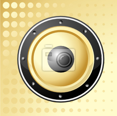 Vektor-Illustration der golden Lautsprecher mit dots