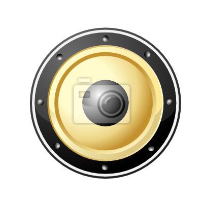 Vektor-Illustration der goldenen Lautsprecher isoliert