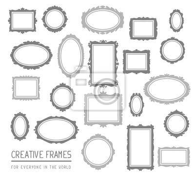 Sticker Vektor-Illustration der großen Satz von grauen rechteckigen und ovalen Rahmen