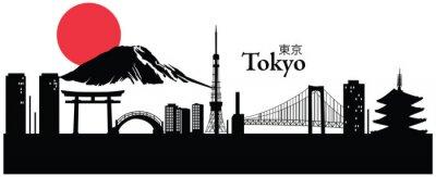Sticker Vektor-Illustration der Stadtlandschaft von Tokyo, Japan