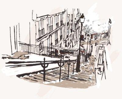 Vektor-Illustration einer Ansicht von Montmartre in Paris