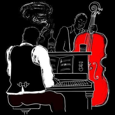 Vektor-Illustration einer Jazz Piano und Kontrabass