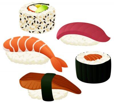 Sticker Vektor-Illustration einer Vielzahl von Sushi.
