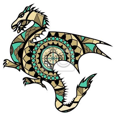 Vektor Illustration Eines Farbigen Drachen Mandala Drago Mandala