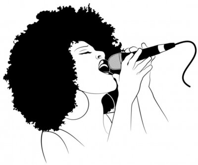 Vektor-Illustration eines Jazz-Sängerin