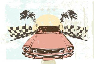 Sticker Vektor-Illustration - High-Speed-Rennwagen auf Grunge-Hintergrund