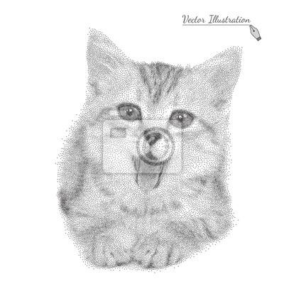Sticker Vektor-Illustration Katze in schwarz und weiß Grafik-Stil