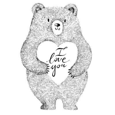 Sticker Vektor-Illustration mit adorable niedlichen Bären